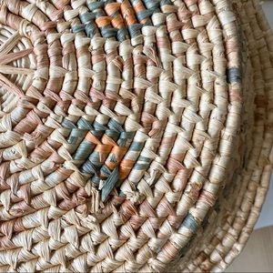 Vintage Accents - Vintage Round Boho Woven Tray Basket